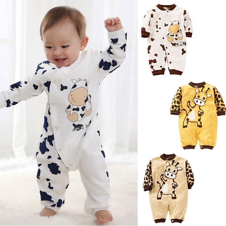 Newbabychic Cute Cow Newborn Girls Boys Clothes Baby Outfit Infant Romper Clothes