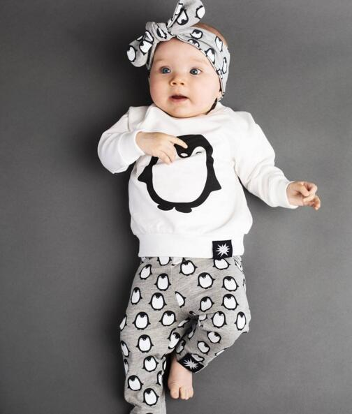 Newbabychic New 2018 Infant Clothing Baby Clothes Long-Sleeved Cartoon Penguin T-Shirt+Pants+Headband 3pcs Newborn Girls Clothing Sets