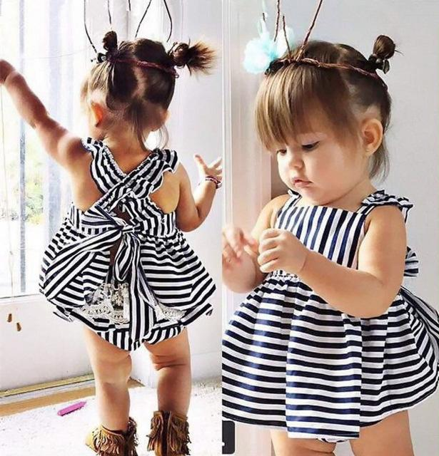 Newbabychic Backless Dress Bow Cotton Briefs 2pcs Set Clothing Girl New Baby Girls Clothes Sets Summer Sunsuit Outfit Stripe