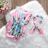 Newbabychic 2 PCS Newborn Baby Girls Floral Bodysuit Headband Sets Tassels Sleeveless Summertops Sunsuit Headwear Clothes Infant Outfits