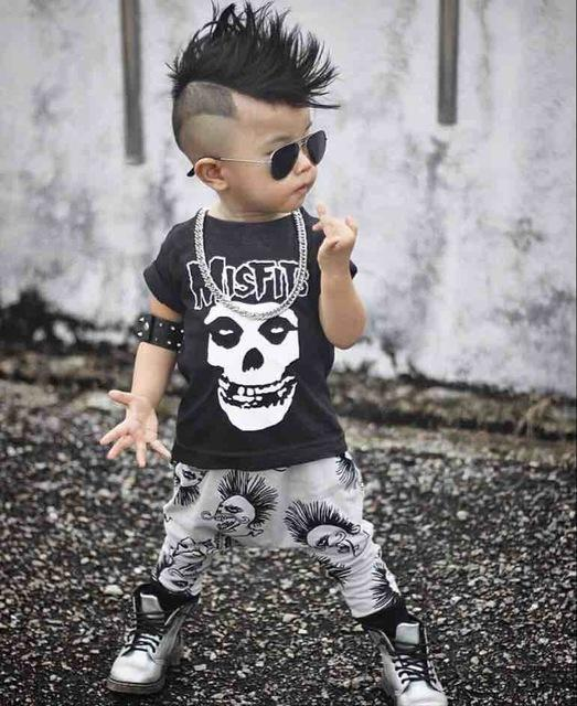 Newbabychic New Summer Baby Boy Clothing Sets Misfits Prints Short Sleeve T-Shirt+Pants Clothes Toddler Outfits