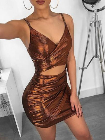 Onlinechoic Brown Bright Wire Spaghetti Strap Cut Out V-neck Sparkly Glitter Party Mini Dress