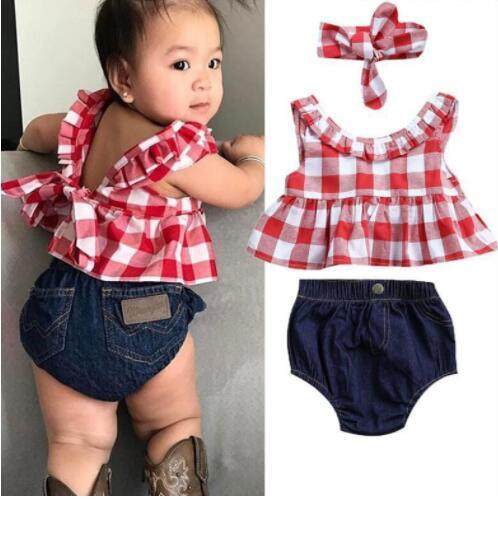 Newbabychic Summer Set Plaid Skirted T-Shirt Tops+Denim Short Bloomers Headband Baby Girl Clothes Newborn Outfits