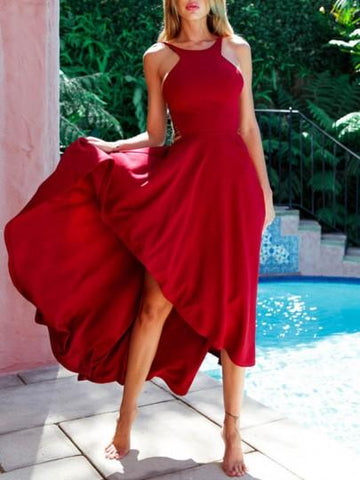 Onlinechoic Red Cut Out Bodycon Round Neck Party Maxi Dress