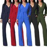 Pure Color Long Sleeve Wrap Style Belt Wide Leg Long Jumpsuit