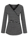 Newbabychic Front Open Maternity Striped Long Sleeve Soft Nursing Tops