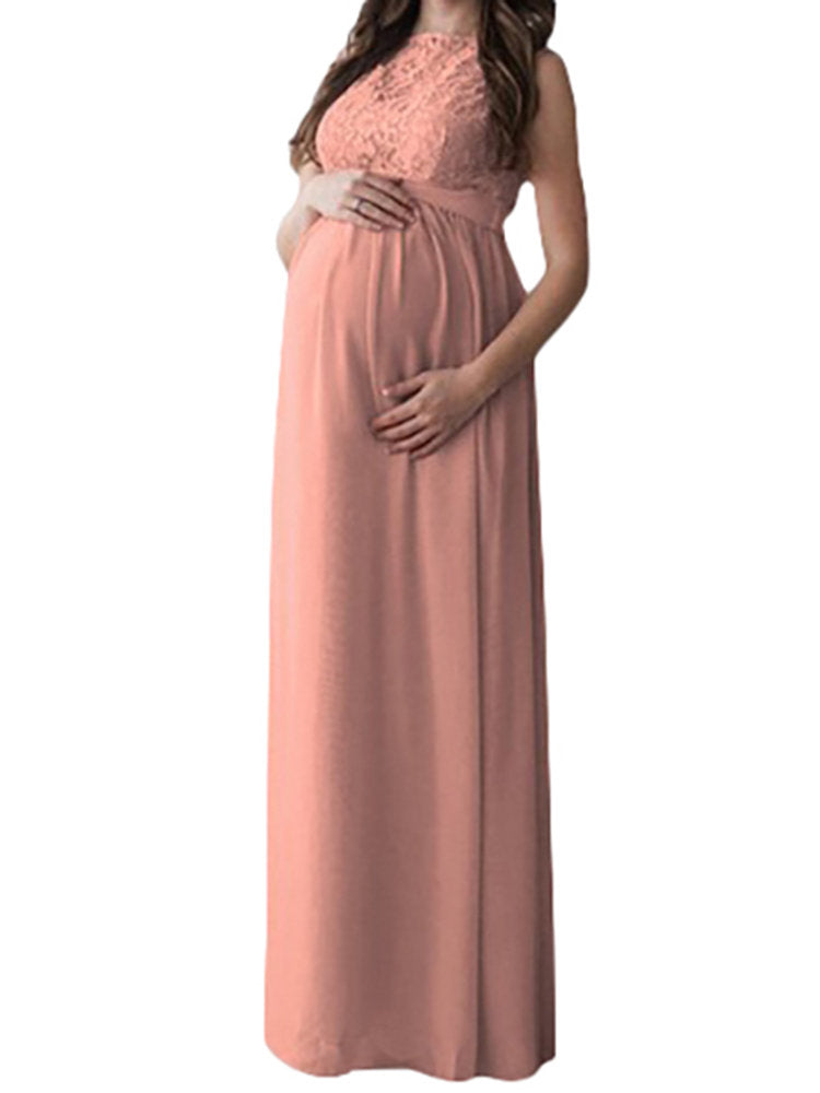Newbabychic Elegant Lace Maternity Pregnancy Photography Gown Maxi Dress