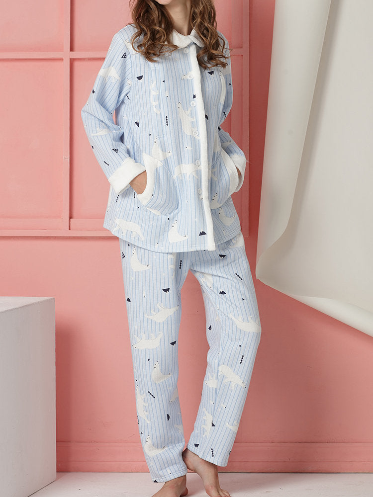 Newbabychic Maternity Pajamas Set Pregnancy Printed Nursing Sleepwear