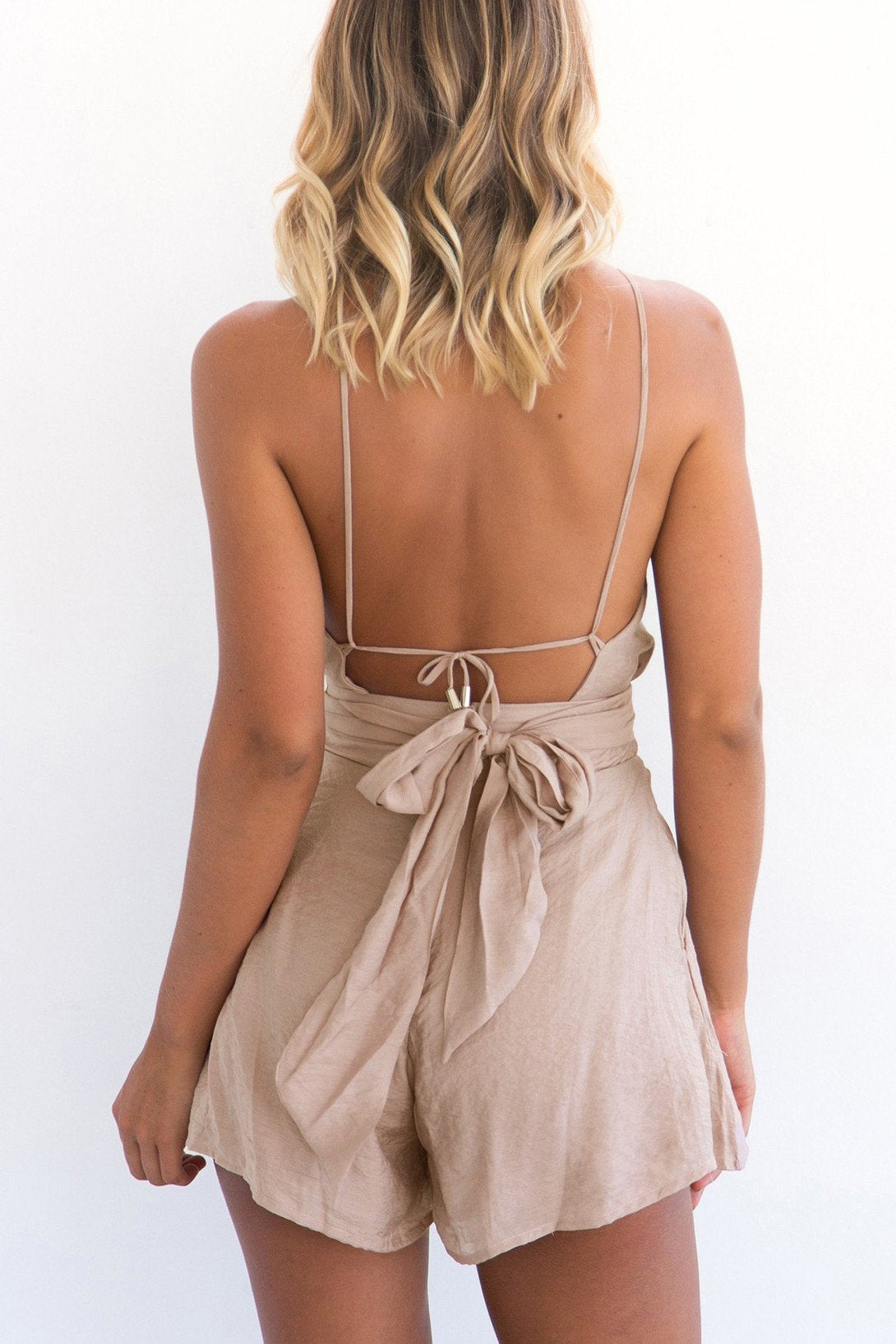 Pure Color Spaghetti Straps Short Backless Bandage Jumpsuit