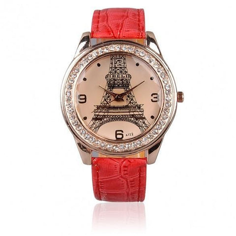 Fashion Chic Girl Ladies Eiffel Tower Dial Crystal Quartz Watch Gift Wristwatch Red Strap