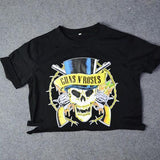 Black Skull Guns N Roses Print Bleach Hollow-out Rock Music Festival Crop Distressed T-Shirt
