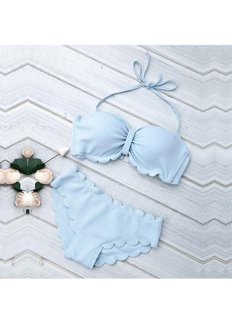 Sky Blue Ruffle Bow Lace Up Two Piece Backless Off Shoulder Beach Swimwear