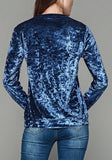 Blue Floral Print Round Neck Long Sleeve T-Shirt