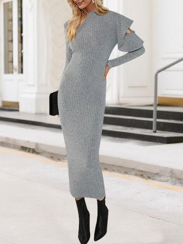 Grey Plain Ruffle Cut Out Elegant Maxi Dress