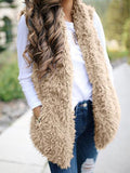 Khaki Faux Fur Pockets Pom Pom Furry Fuzzy Casual Cardigan Vest