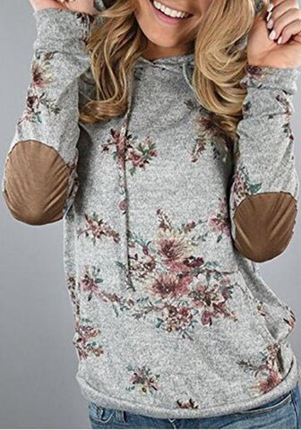 Grey Floral Drawstring Pockets Hooded Long Sleeve Casual Pullover Sweatshirt