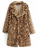 New Yellow Leopard Print Pockets Turndown Collar Long Sleeve Fashion Faux Fur Coat
