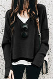 Onlinechoic Solid Color Long Sleeve V-neck Casual Hoodie