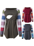 Newbabychic Front Open Maternity Long Sleeve Striped Nursing Tops