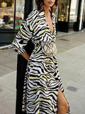 New White Zebra Pattern Draped Deep V-neck Single Breasted Side Slit Casual Midi Dress