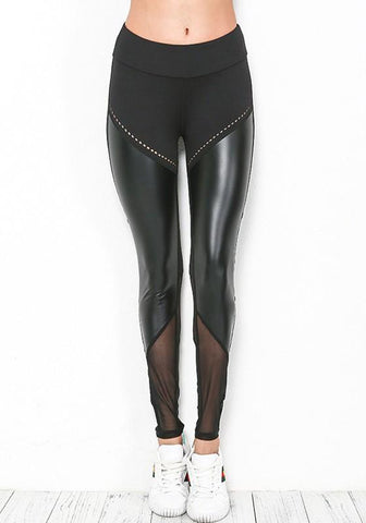 Black Patchwork PU Leather Grenadine Elastic Waist Sports Long Pants