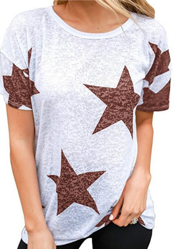 Red Star Print Round Neck Casual Boyfriend T-Shirt