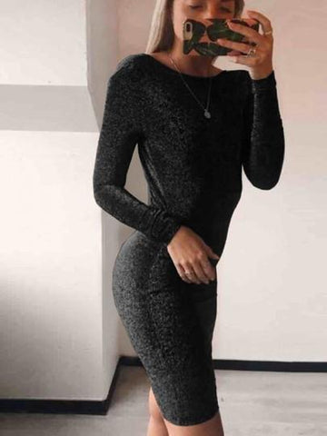 Onlinechoic Black Bright Wire Round Neck Long Sleeve Fashion Midi Dress