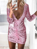 Pink Patchwork Sequin Skinny V-neck Party Mini Dress