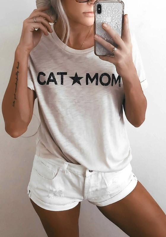 "White ""CAT MOM"" Print Round Neck Casual T-Shirt"