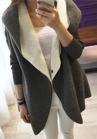 Grey Patchwork Pockets Hooded Long Sleeve Teddy Oversize Coat