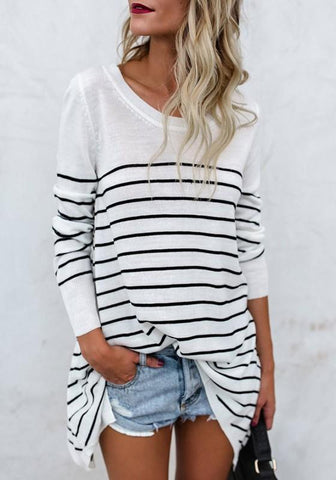 White Striped Print Irregular Round Neck Long Sleeve Casual T-Shirt