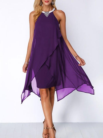 New Purple Rhinestone Irregular Round Neck Sleeveless Going out Midi Dress