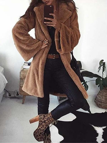 Dark Khaki Turndown Collar Long Sleeve Fashion Faux Fur Coat