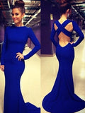 New Blue Backless Draped Cut Out Cross Back Round Neck Long Sleeve Elegant Maxi Dress