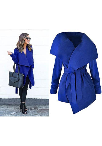 Blue Sashes Pockets Irregular Turndown Collar Long Sleeve Fashion Coat