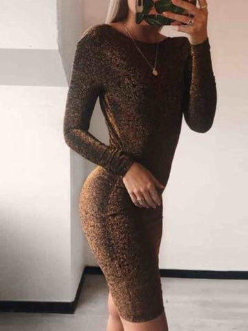 Onlinechoic Golden Bright Wire Round Neck Long Sleeve Fashion Midi Dress