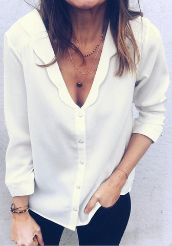 White Single Breasted V-neck Three Quarter Length Sleeve Fashion Blouse
