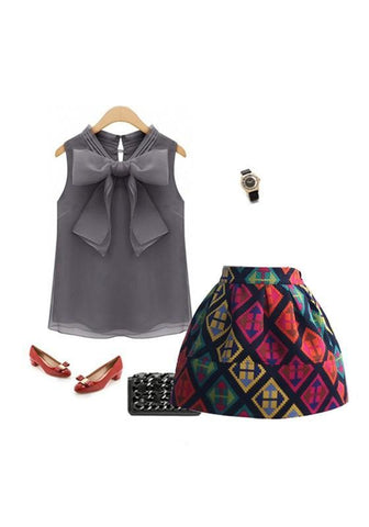 Dark Grey Bow Buttons V-neck Fashion Loose Vest