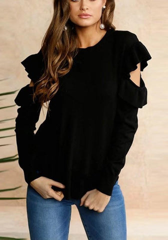 Black Cascading Ruffle Irregular Round Neck Sweet Pullover Sweater