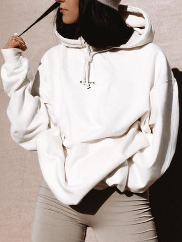 New White Monogram Embroidery Drawstring Hooded Long Sleeve Casual Sweatshirt