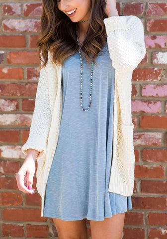 White Pockets Long Sleeve Fashion Acrylic Cardigan Sweater