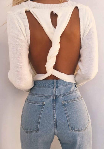 White Cut Out Backless Cross Back Oversize Pullover Sweater