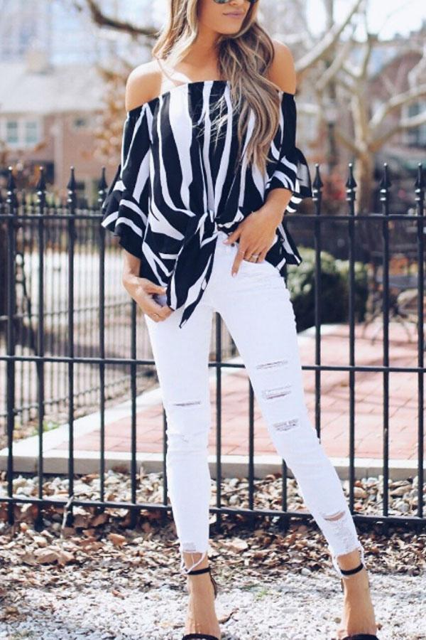 New Off Shoulder Striped Batwing Sleeve Blouses