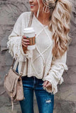 Onlinechoic Fringed Solid Color Fashion Sweater