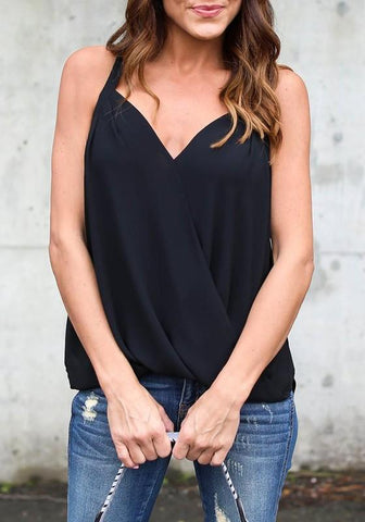 Black V-neck Office Worker/Daily Going out Blouse