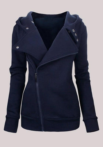 Dark Blue Pockets Buttons Zipper Hooded Casual Cardigan Sweatshirt
