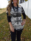 Black White Tribal Print Round Neck Long Sleeve Country Cowgirl Bohemian T-Shirt