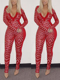 Red Geometric Sequin Bodycon Long Sleeve V-neck Sparkly Glitter Birthday Party Clubwear Long Jumpsuit