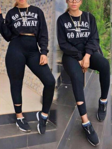 "New Black ""GO Black OR GO AWAY "" Print Long Sleeve Two Piece Bodycon High Waisted Long Jumpsuit"