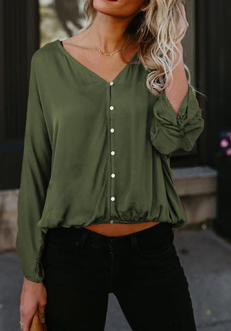 Green Single Breasted Ruffle Midriff V-neck Casual Blouse